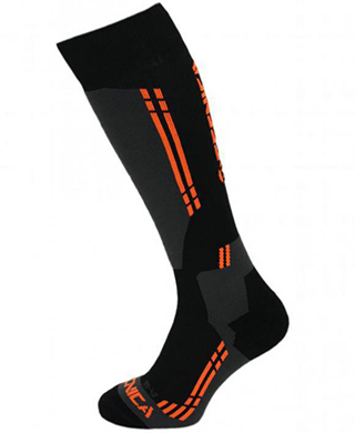 Competition ski socks, black/anthracite/orange